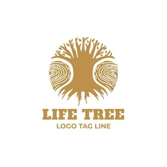 Modèle de logo arbre nature entreprise nuances dorées