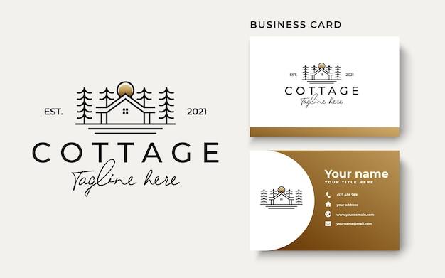 Modèle de logo d'arbre de pin cottage isolé sur fond blanc. illustration vectorielle