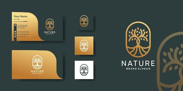 Modèle de logo d'arbre avec style d'art de ligne d'or et conception de carte de visite