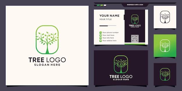 Modèle de logo d'arbre avec style de dessin au trait et conception de carte de visite vecteur premium