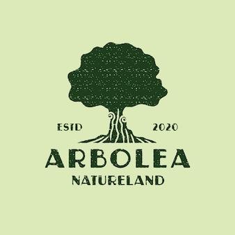 Modèle de logo arbre vintage