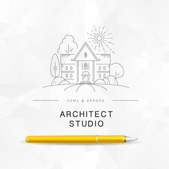 Modèle de logo d'architecte.