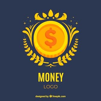 Modèle de logo argent avec pièce