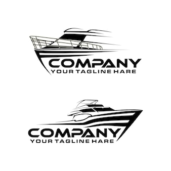 Modèle de logo d'art de ligne de bateau de vitesse