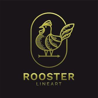 Modèle de logo art ligne coq doré