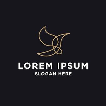 Modèle de logo art ligne oiseau nature