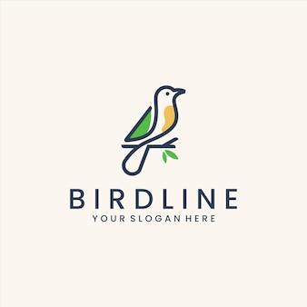 Modèle de logo d'art de ligne d'oiseau