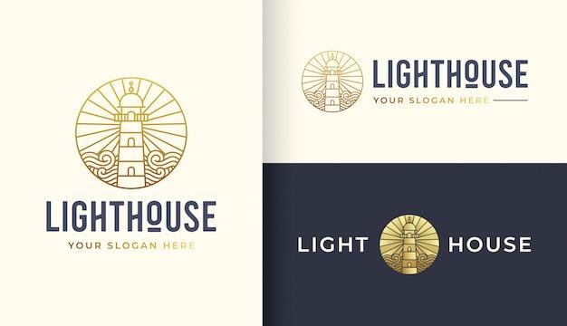 Modèle de logo art ligne phare