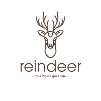 Modèle de logo d'art de ligne de renne