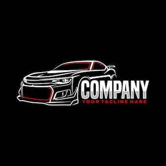 Modèle de logo d'art de ligne de sport automobile