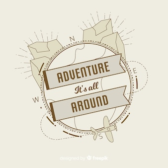 Modèle de logo d'aventure vintage