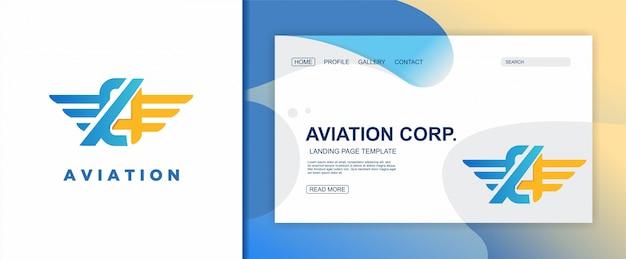 Modèle de logo aviation et page d'atterrissage