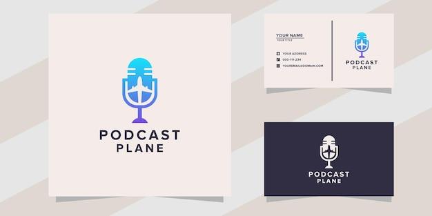 Modèle de logo d'avion de podcast