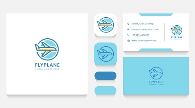 Modèle de logo d'avion de vol et carte de visite