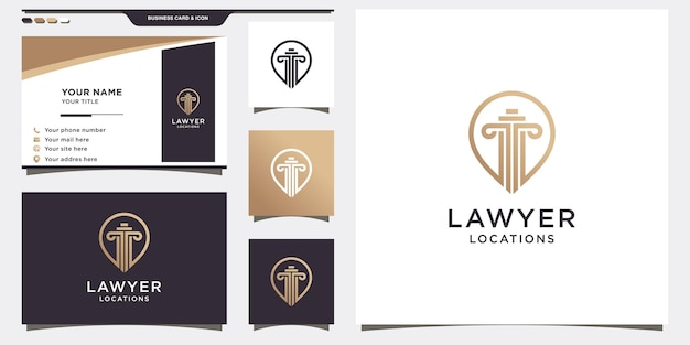 Modèle de logo avocat avec concept de broche et conception de carte de visite