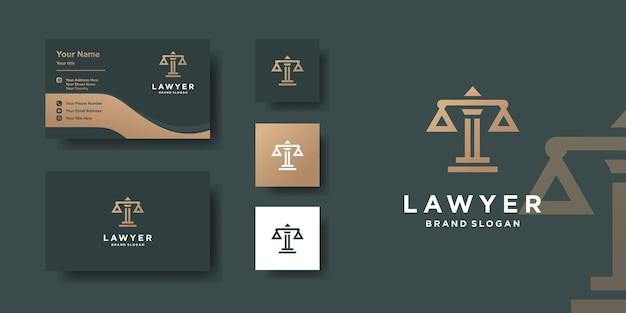 Modèle de logo d'avocat avec un style moderne et un design de carte de visite vecteur premium