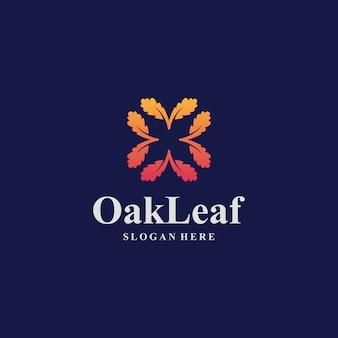 Modèle de logo awesome oak leaf