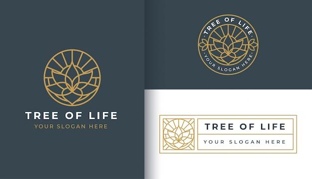 Modèle de logo et badge lotus