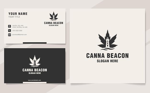 Modèle de logo de balise canna sur le style monogramme