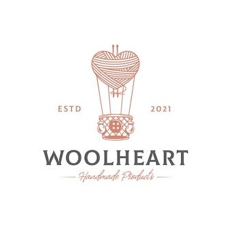 Modèle de logo de ballon à air en laine coeur
