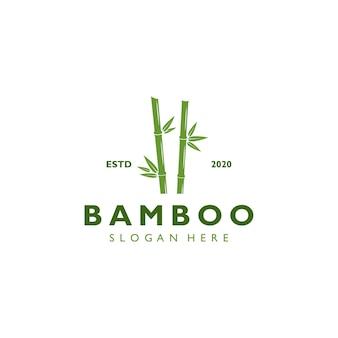 Modèle de logo de bambou rétro vintage