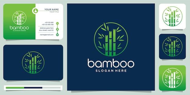 Modèle de logo de bambou vert et modèle de carte de visite.