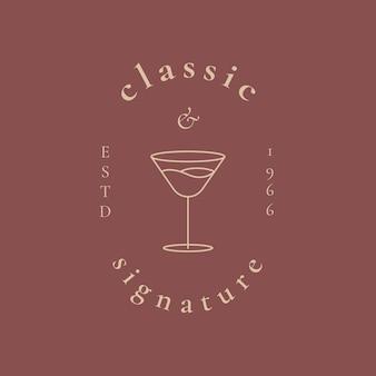 Modèle de logo de bar de luxe avec illustration de verre à cocktail minimale