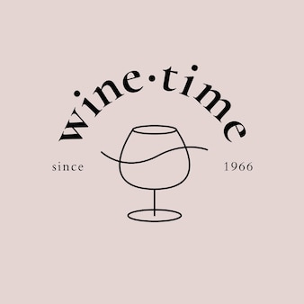 Modèle de logo de bar à vin avec illustration minimale de verre à vin