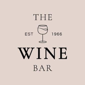 Modèle de logo de bar à vin avec un verre à vin minimal