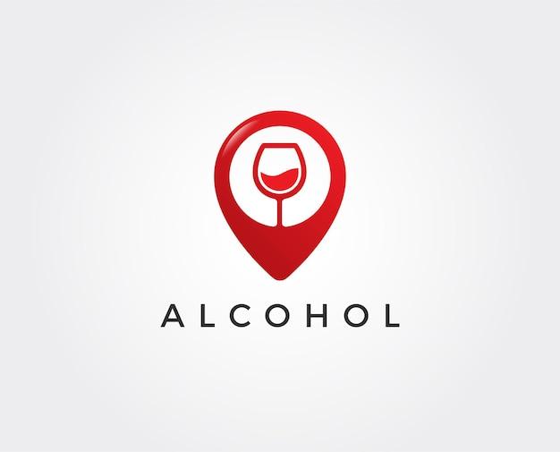 Modèle de logo de bar à vin