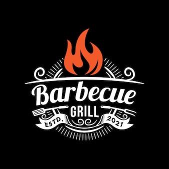 Modèle de logo de barbecue créatif avec détails
