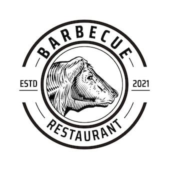 Modèle de logo de barbecue créatif
