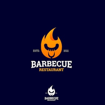 Modèle de logo de barbecue dégradé