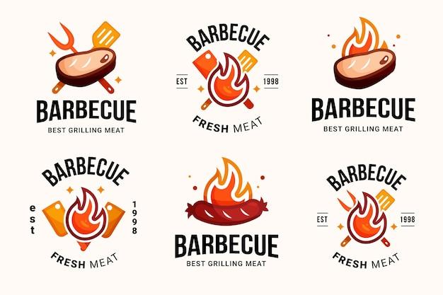 Modèle de logo de barbecue détaillé