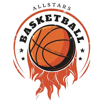 Modèle de logo de basket-ball vintage coloré