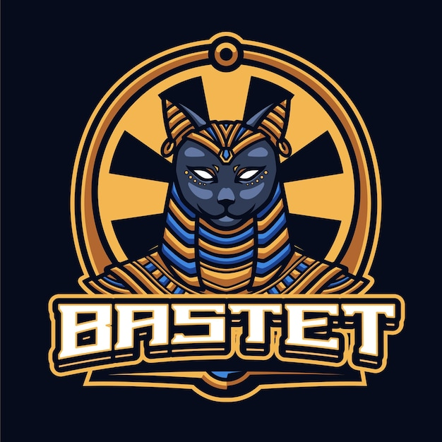 Modèle de logo bastet mascot