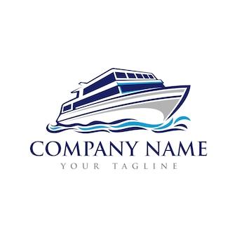 Modèle de logo de bateau de vitesse sur la mer