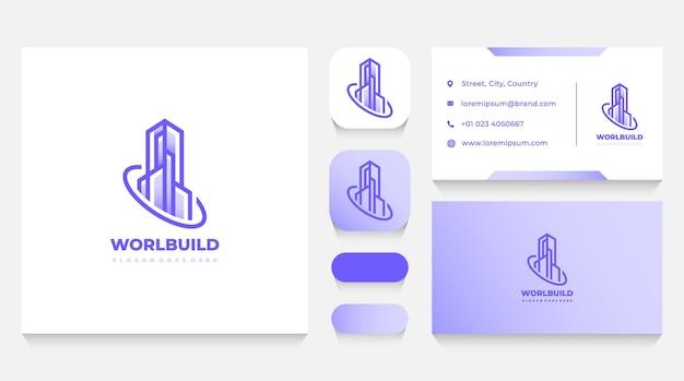 Modèle de logo de bâtiment immobilier et carte de visite