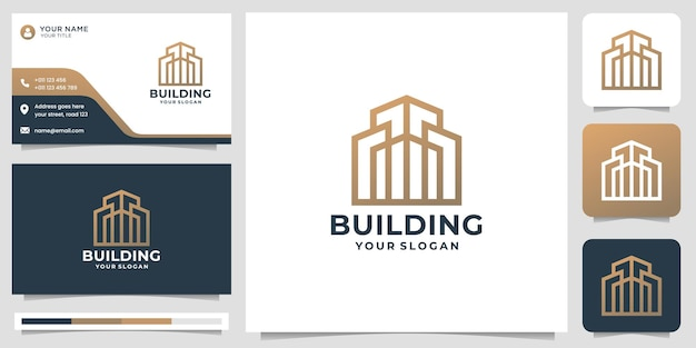 Modèle de logo de bâtiment minimal abstrait créatif avec conception de carte de visite. vecteur de prime