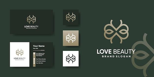 Modèle de logo de beauté d'amour avec un concept unique vecteur premium