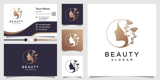 Modèle de logo de beauté avec concept créatif vecteur premium