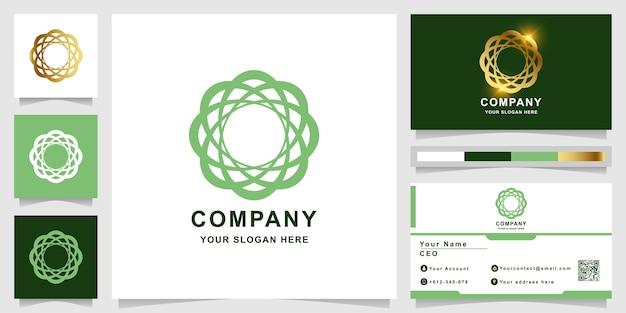 Modèle de logo beauté, fleur, boutique ou ornement avec conception de carte de visite. peut être utilisé pour la conception de logo spa, salon, beauté ou boutique.