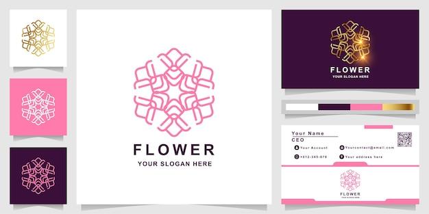 Modèle de logo beauté, fleur, boutique ou ornement avec conception de carte de visite. peut être utilisé pour la conception de logo de spa, de salon, de beauté ou de boutique.