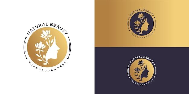 Modèle de logo de beauté naturelle avec un concept unique créatif vecteur premium