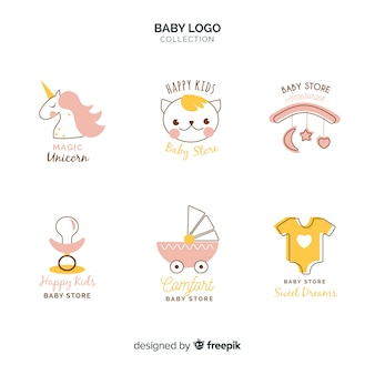 Modèle de logo bébé dessiné main moderne