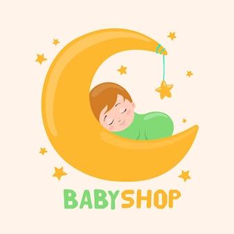 Modèle de logo bébé détaillé avec lune