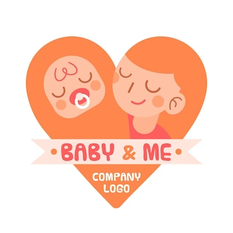 Modèle de logo bébé détaillé