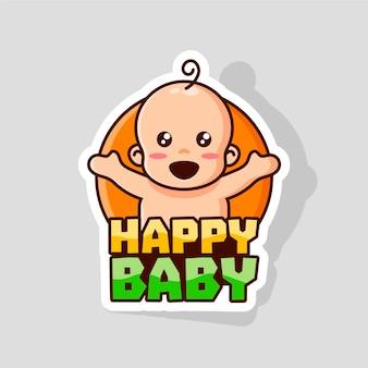 Modèle de logo bébé heureux