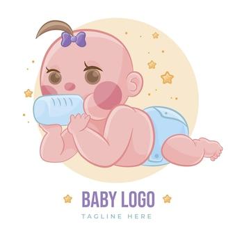 Modèle de logo bébé mignon détaillé