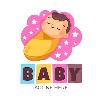 Modèle de logo bébé mignon